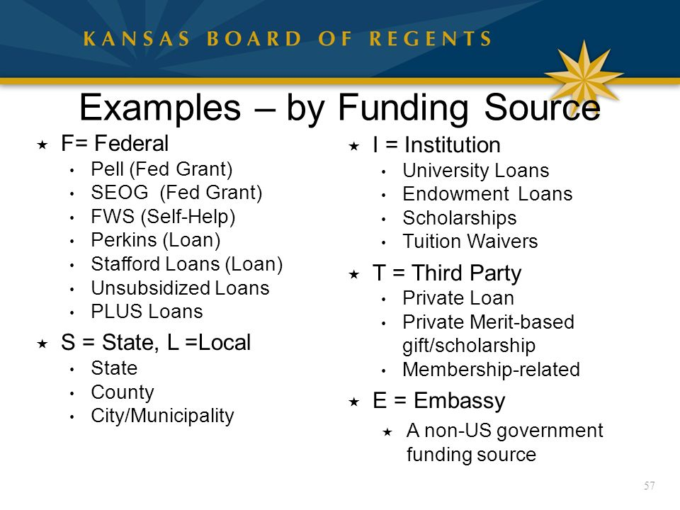 Examples – by Funding Source  F= Federal Pell (Fed Grant) SEOG (Fed Grant) FWS (Self-Help) Perkins (Loan) Stafford Loans (Loan) Unsubsidized Loans PLUS Loans  S = State, L =Local State County City/Municipality 57  I = Institution University Loans Endowment Loans Scholarships Tuition Waivers  T = Third Party Private Loan Private Merit-based gift/scholarship Membership-related  E = Embassy  A non-US government funding source