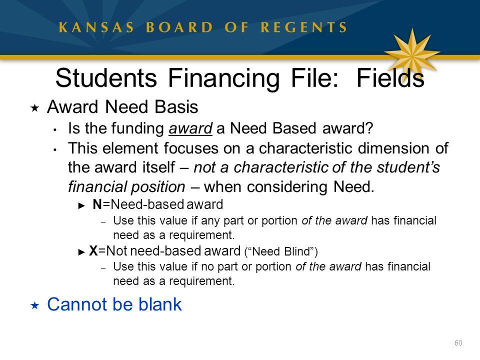 Students Financing File: Fields  Award Need Basis Is the funding award a Need Based award.