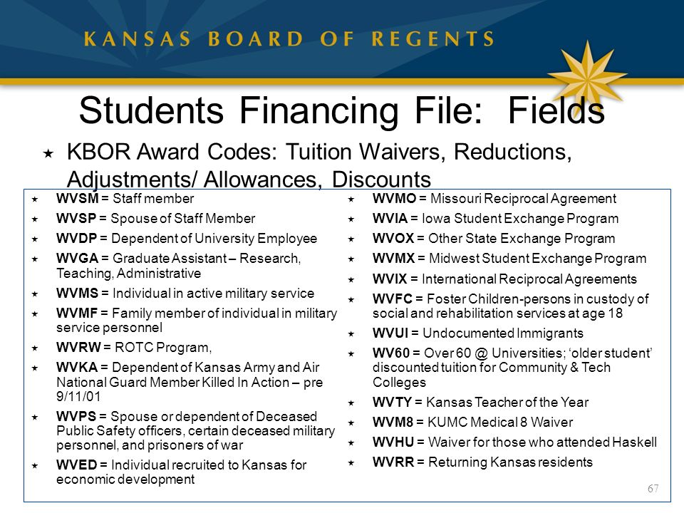 Students Financing File: Fields  KBOR Award Codes: Tuition Waivers, Reductions, Adjustments/ Allowances, Discounts 67  WVSM = Staff member  WVSP = Spouse of Staff Member  WVDP = Dependent of University Employee  WVGA = Graduate Assistant – Research, Teaching, Administrative  WVMS = Individual in active military service  WVMF = Family member of individual in military service personnel  WVRW = ROTC Program,  WVKA = Dependent of Kansas Army and Air National Guard Member Killed In Action – pre 9/11/01  WVPS = Spouse or dependent of Deceased Public Safety officers, certain deceased military personnel, and prisoners of war  WVED = Individual recruited to Kansas for economic development  WVMO = Missouri Reciprocal Agreement  WVIA = Iowa Student Exchange Program  WVOX = Other State Exchange Program  WVMX = Midwest Student Exchange Program  WVIX = International Reciprocal Agreements  WVFC = Foster Children-persons in custody of social and rehabilitation services at age 18  WVUI = Undocumented Immigrants  WV60 = Over 60 @ Universities; 'older student' discounted tuition for Community & Tech Colleges  WVTY = Kansas Teacher of the Year  WVM8 = KUMC Medical 8 Waiver  WVHU = Waiver for those who attended Haskell  WVRR = Returning Kansas residents