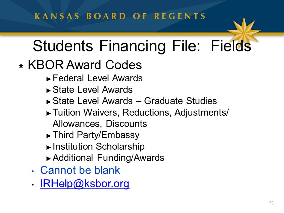 Students Financing File: Fields  KBOR Award Codes ► Federal Level Awards ► State Level Awards ► State Level Awards – Graduate Studies ► Tuition Waivers, Reductions, Adjustments/ Allowances, Discounts ► Third Party/Embassy ► Institution Scholarship ► Additional Funding/Awards Cannot be blank IRHelp@ksbor.org 72