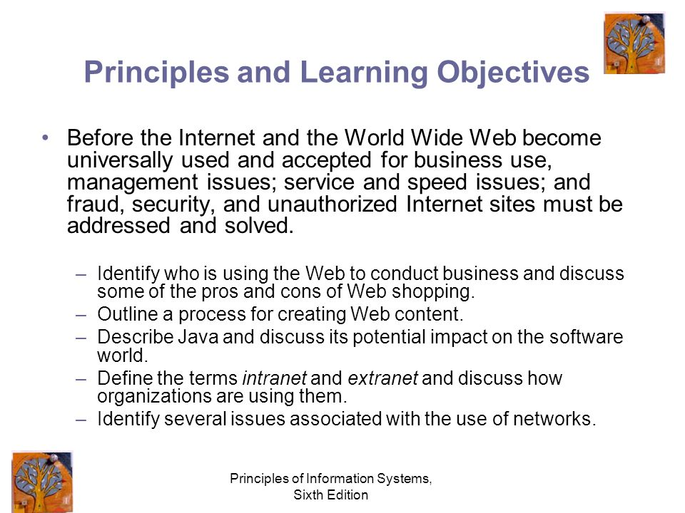 Principles of Information Systems, Sixth Edition Principles and Learning Objectives Before the Internet and the World Wide Web become universally used and accepted for business use, management issues; service and speed issues; and fraud, security, and unauthorized Internet sites must be addressed and solved.