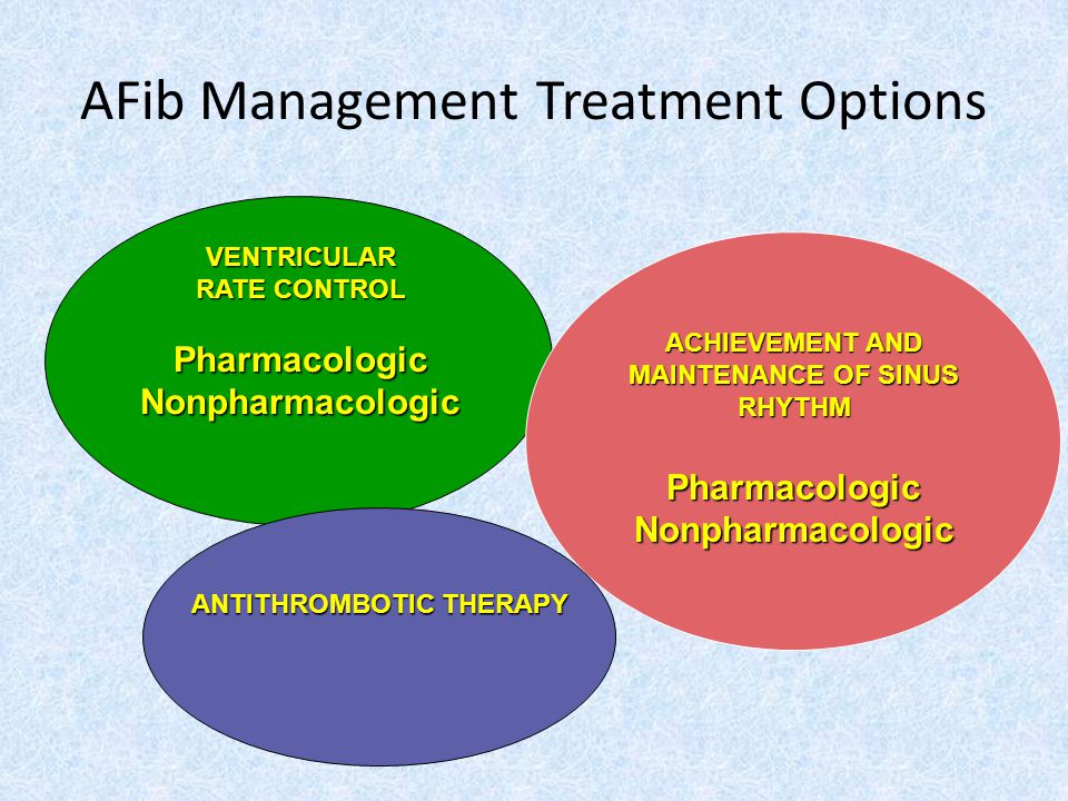 AFib Management Treatment Options VENTRICULAR RATE CONTROL PharmacologicNonpharmacologic ACHIEVEMENT AND MAINTENANCE OF SINUS RHYTHM PharmacologicNonpharmacologic ANTITHROMBOTIC THERAPY