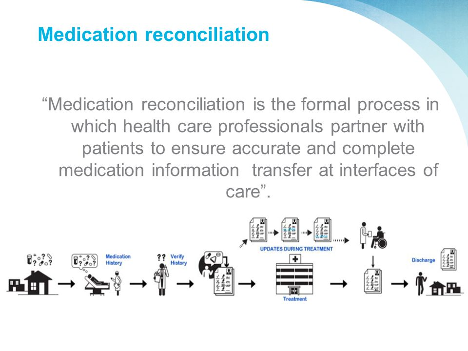 "Medication reconciliation ""Medication reconciliation is the formal process in which health care professionals partner with patients to ensure accurate"