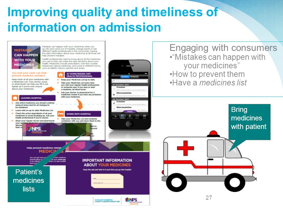 27 AUSTRALIA: Australian Commission on Safety and Quality in Healthcare Improving quality and timeliness of information on admission Bring medicines w