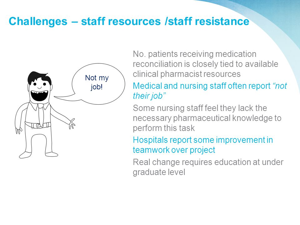 Challenges – staff resources /staff resistance No. patients receiving medication reconciliation is closely tied to available clinical pharmacist resou