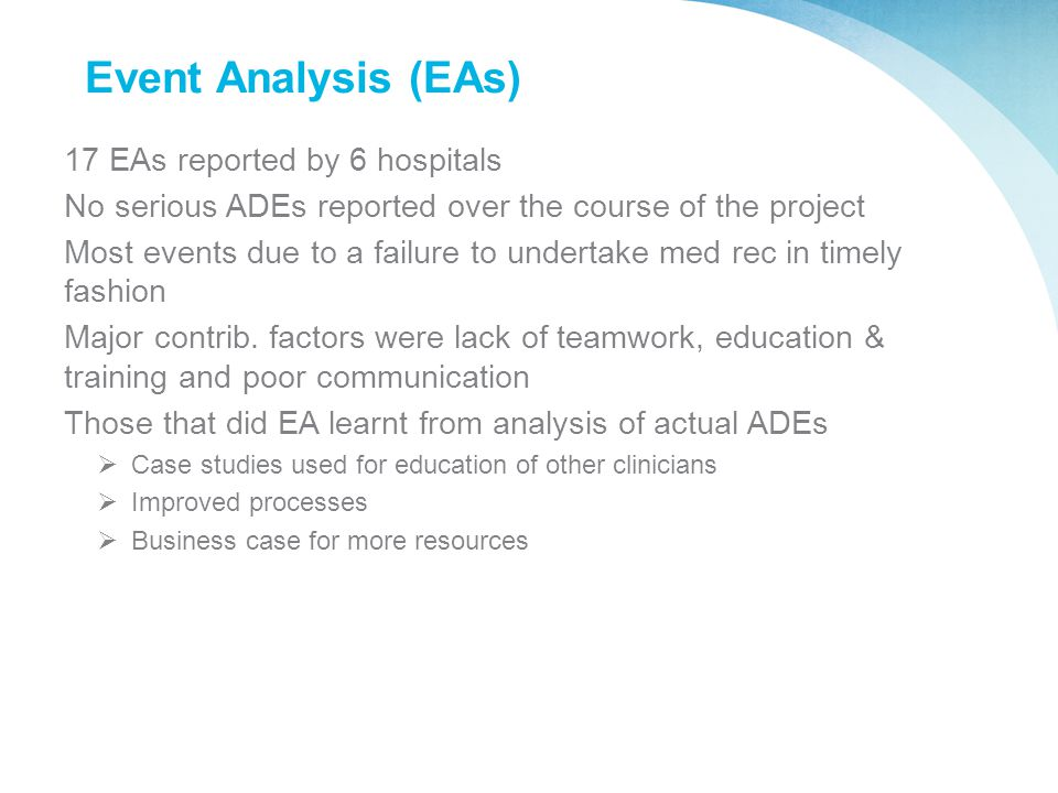 Event Analysis (EAs) 17 EAs reported by 6 hospitals No serious ADEs reported over the course of the project Most events due to a failure to undertake