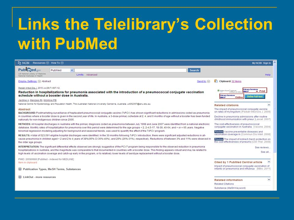 Links the Telelibrary's Collection with PubMed