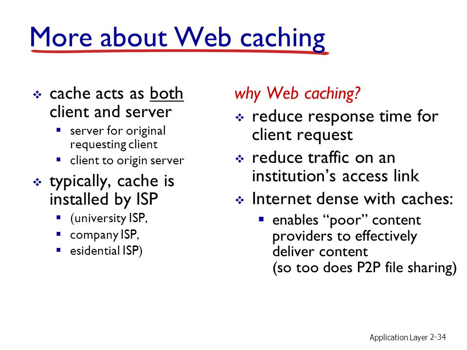 Application Layer 2-34 More about Web caching  cache acts as both client and server  server for original requesting client  client to origin server  typically, cache is installed by ISP  (university ISP,  company ISP,  esidential ISP) why Web caching.
