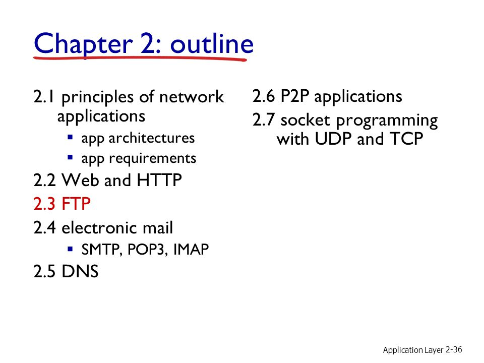 Application Layer 2-36 Chapter 2: outline 2.1 principles of network applications  app architectures  app requirements 2.2 Web and HTTP 2.3 FTP 2.4 electronic mail  SMTP, POP3, IMAP 2.5 DNS 2.6 P2P applications 2.7 socket programming with UDP and TCP