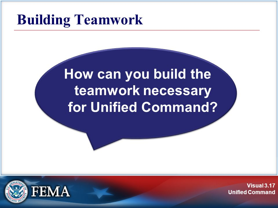 Visual 3.17 Unified Command How can you build the teamwork necessary for Unified Command.