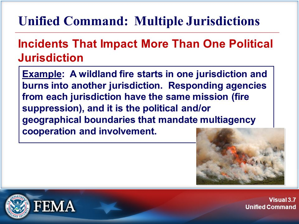 Visual 3.28 Unified Command Unified Command and Preparedness  Include Unified Command delegations in local emergency operations plans and interagency/ mutual-aid agreements.