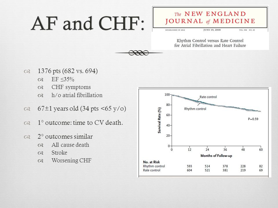 AF and CHF:AF and CHF:  1376 pts (682 vs. 694)  EF ≤35%  CHF symptoms  h/o atrial fibrillation  67±1 years old (34 pts <65 y/o)  1° outcome: tim