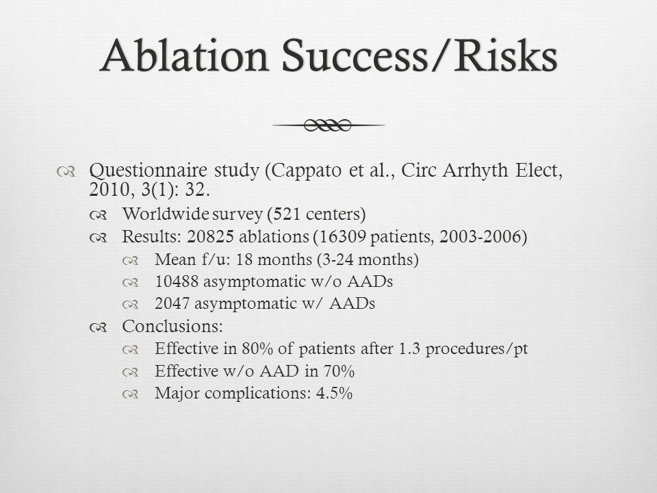 Ablation Success/RisksAblation Success/Risks  Questionnaire study (Cappato et al., Circ Arrhyth Elect, 2010, 3(1): 32.  Worldwide survey (521 center