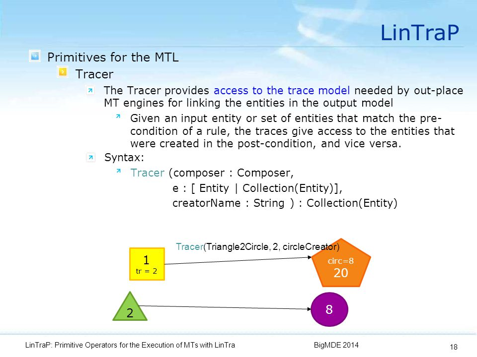 LinTraP Primitives for the MTL Tracer The Tracer provides access to the trace model needed by out-place MT engines for linking the entities in the output model Given an input entity or set of entities that match the pre- condition of a rule, the traces give access to the entities that were created in the post-condition, and vice versa.