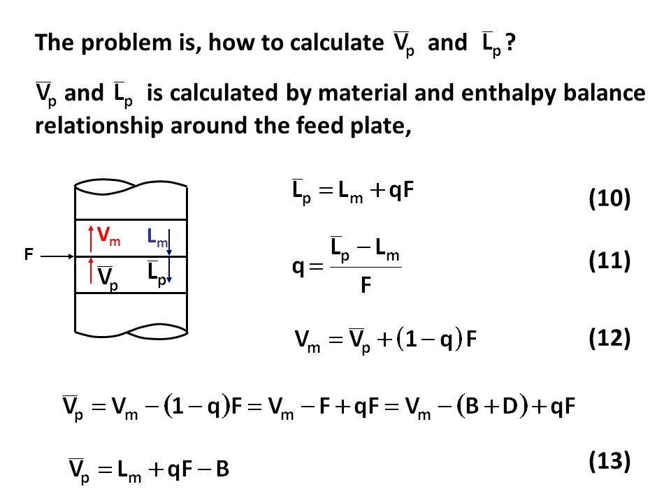 (10) (11) (12) and is calculated by material and enthalpy balance relationship around the feed plate, (13) The problem is, how to calculate and .