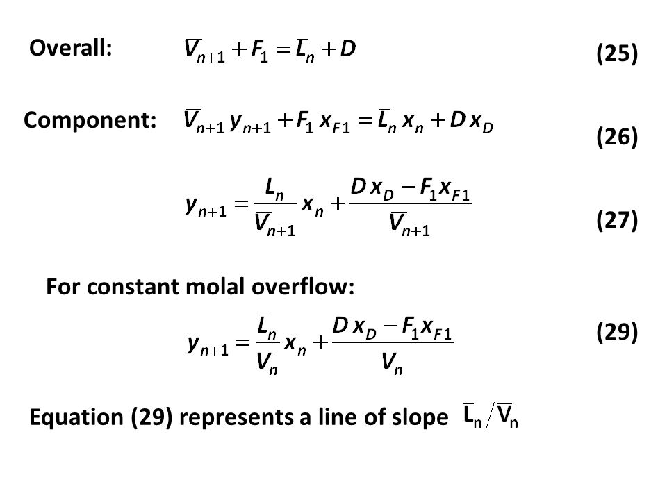 Overall: (27) (26) (25) Component: For constant molal overflow: (29) Equation (29) represents a line of slope