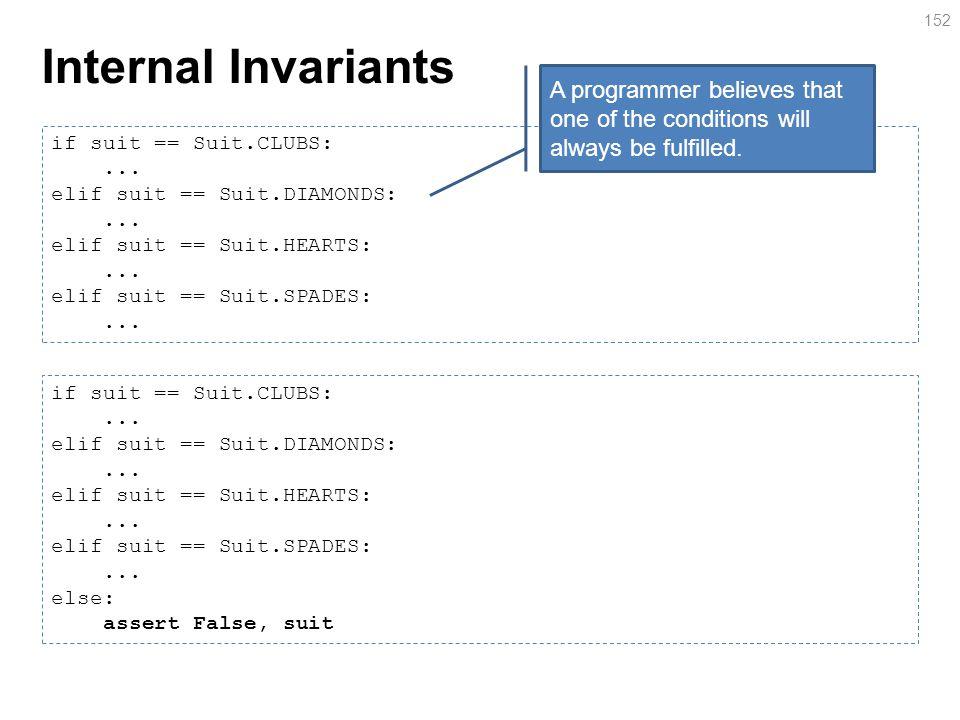 Internal Invariants 152 if suit == Suit.CLUBS:... elif suit == Suit.DIAMONDS:...