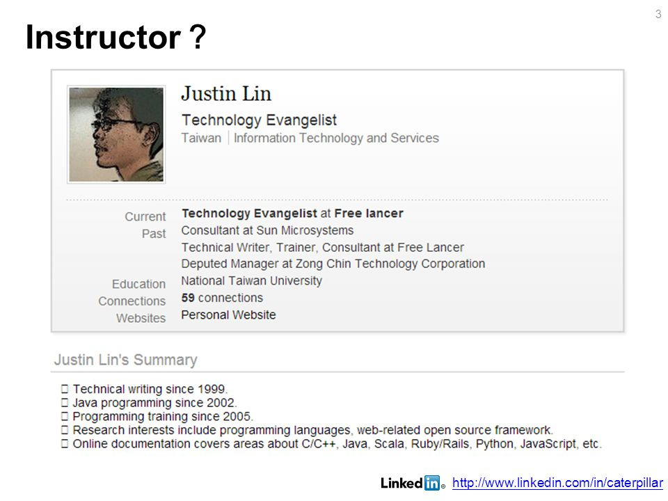 Instructor ? http://www.linkedin.com/in/caterpillar 3