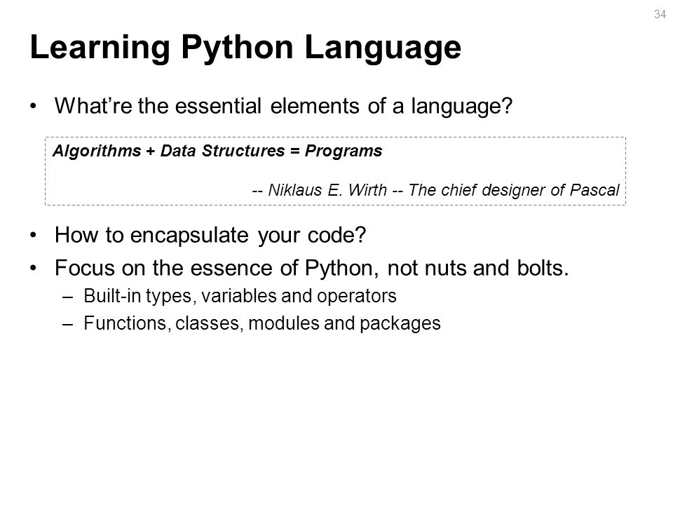 Learning Python Language What're the essential elements of a language.