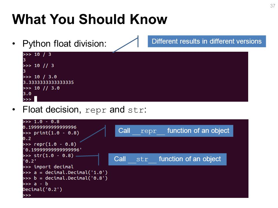 What You Should Know Python float division: Float decision, repr and str : 37 Different results in different versions Call __repr__ function of an object Call __str__ function of an object