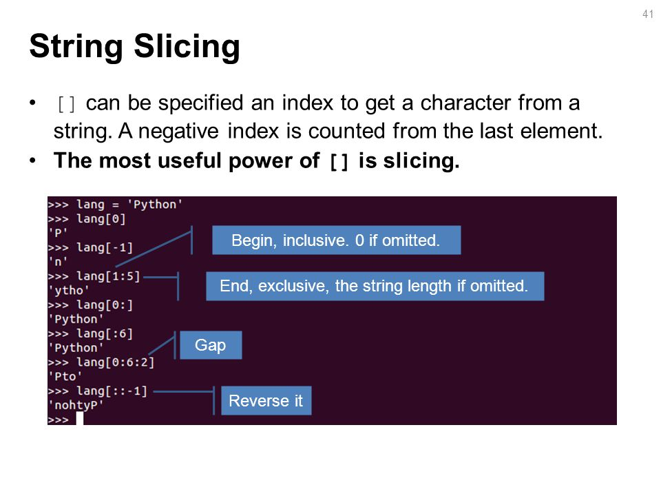 String Slicing [] can be specified an index to get a character from a string.
