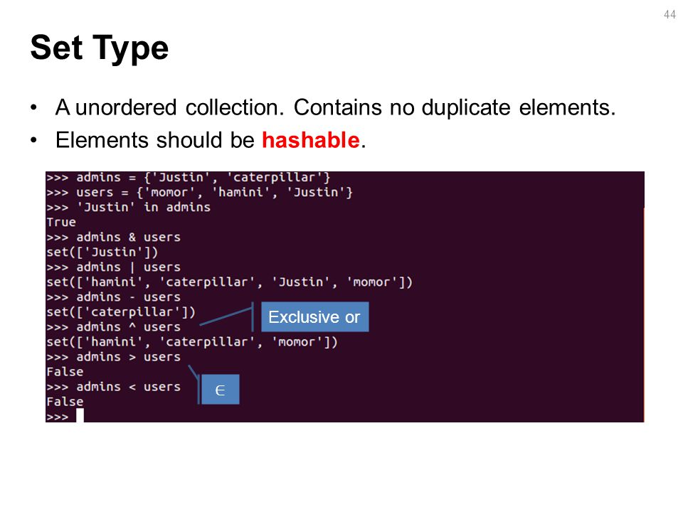Set Type A unordered collection.Contains no duplicate elements.