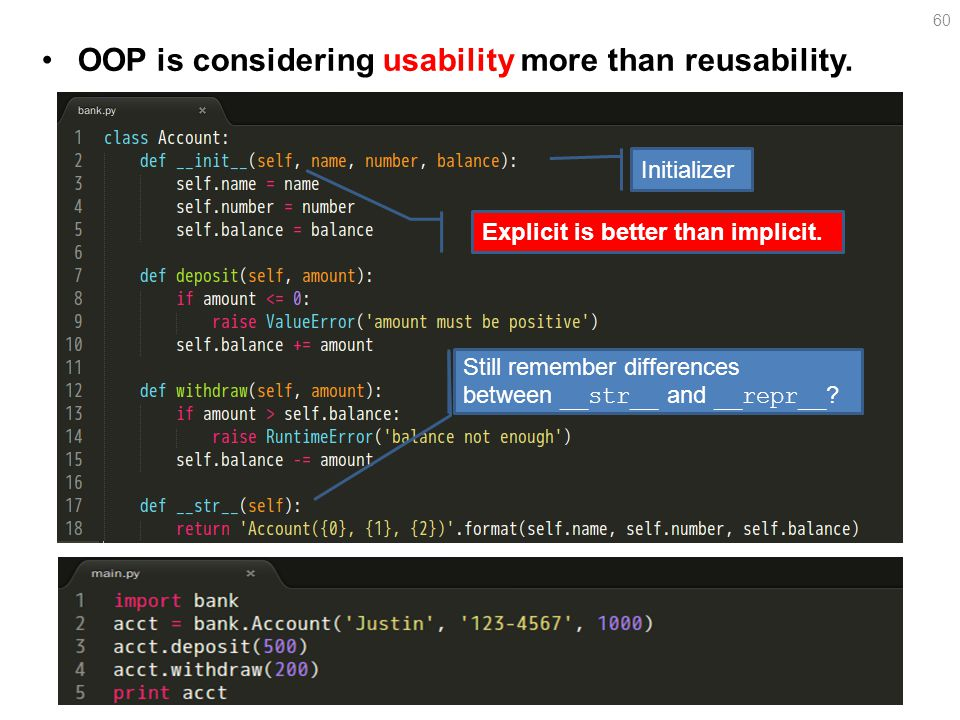 OOP is considering usability more than reusability.