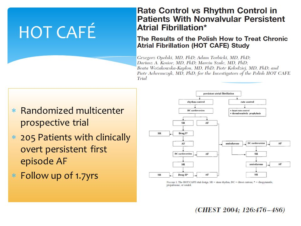 HOT CAFÉ  Randomized multicenter prospective trial  205 Patients with clinically overt persistent first episode AF  Follow up of 1.7yrs