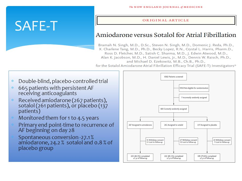SAFE-T  Double-blind, placebo-controlled trial  665 patients with persistent AF receiving anticoagulants  Received amiodarone (267 patients), sotal