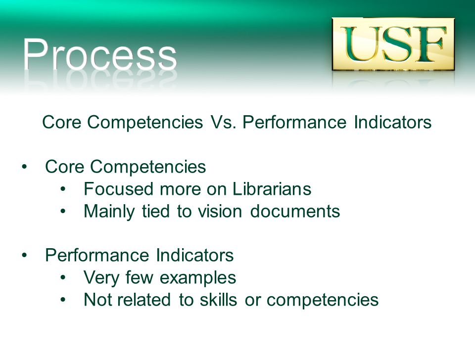 Core Competencies Vs. Performance Indicators Core Competencies Focused more on Librarians Mainly tied to vision documents Performance Indicators Very