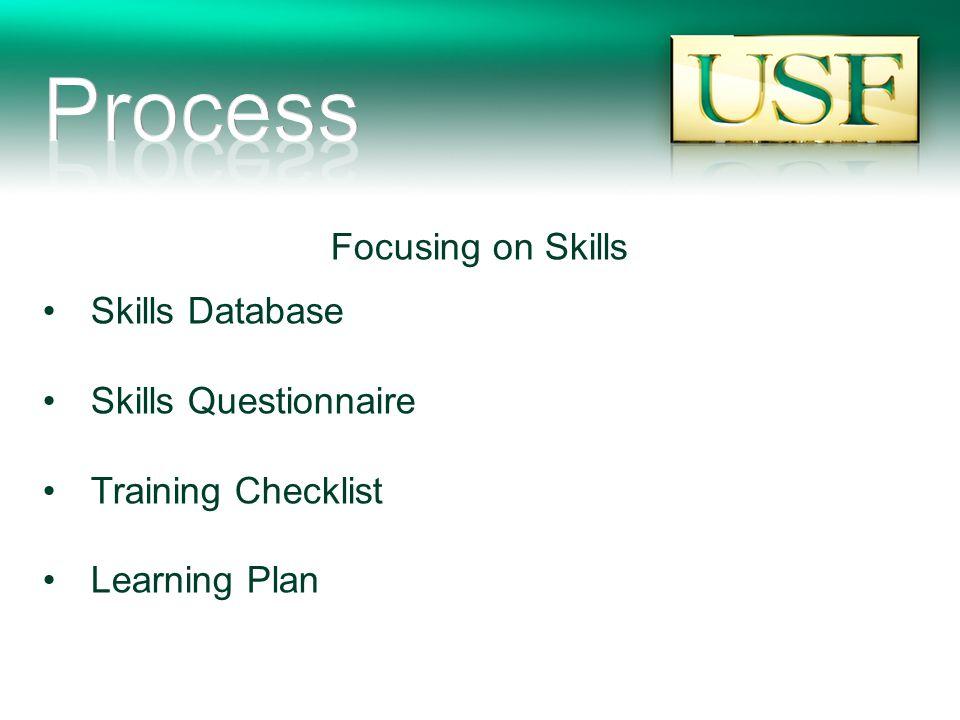Focusing on Skills Skills Database Skills Questionnaire Training Checklist Learning Plan