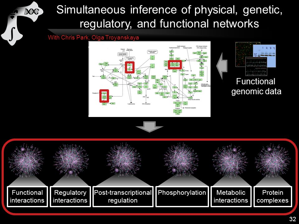 Functional genomic data 32 With Chris Park, Olga Troyanskaya Simultaneous inference of physical, genetic, regulatory, and functional networks Functional interactions Regulatory interactions Post-transcriptional regulation Metabolic interactions Phosphorylation Protein complexes