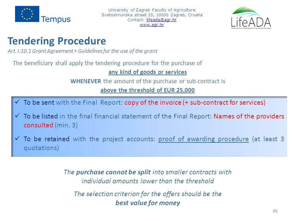 Tendering Procedure Art.
