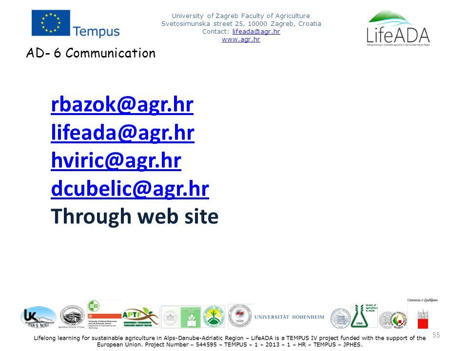 55 University of Zagreb Faculty of Agriculture Svetosimunska street 25, 10000 Zagreb, Croatia Contact: lifeada@agr.hrlifeada@agr.hr www.agr.hr AD- 6 Communication rbazok@agr.hr lifeada@agr.hr hviric@agr.hr dcubelic@agr.hr Through web site