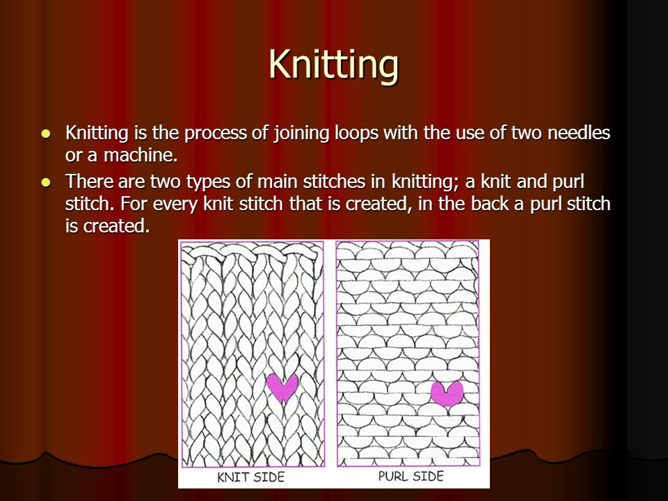 Knitting Knitting is the process of joining loops with the use of two needles or a machine. Knitting is the process of joining loops with the use of t