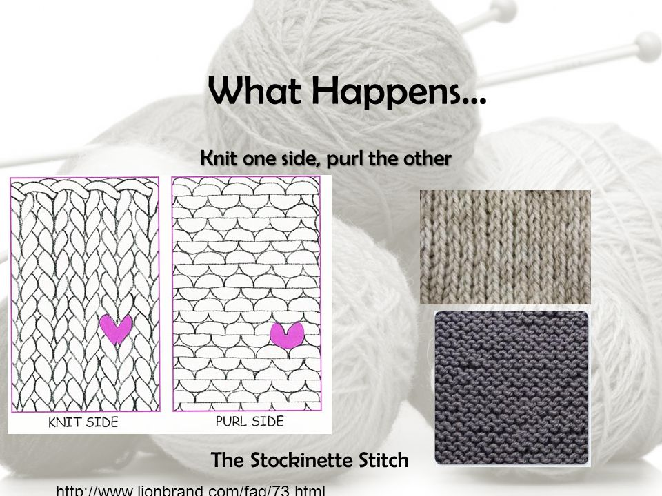 What Happens… Knit one side, purl the other The Stockinette Stitch http://www.lionbrand.com/faq/73.html