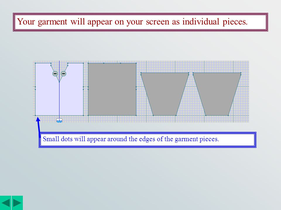Your garment will appear on your screen as individual pieces.