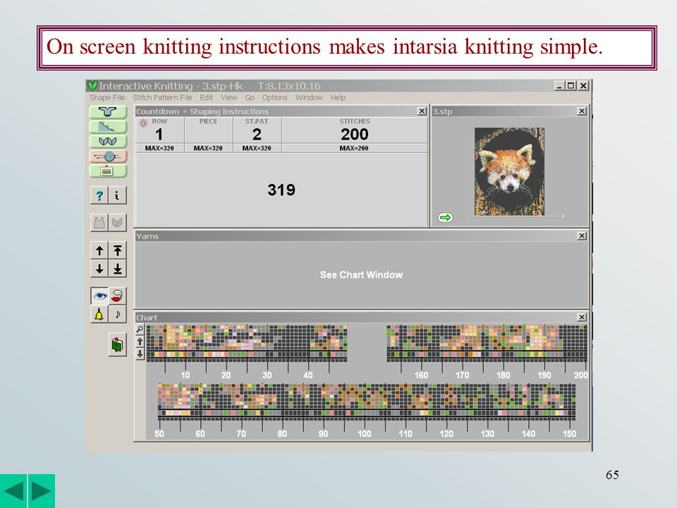65 On screen knitting instructions makes intarsia knitting simple.