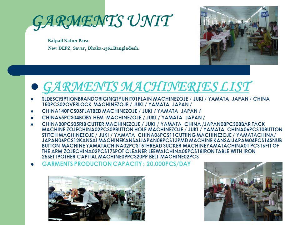 GARMENTS UNIT Baipail Natun Para New DEPZ, Savar, Dhaka-1361.Bangladesh. GARMENTS MACHINERIES LIST SLDESCRIPTIONBRANDORIGINQTYUNIT01PLAIN MACHINEZOJE