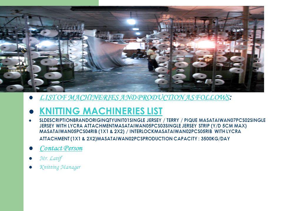 LIST OF MACHINERIES AND PRODUCTION AS FOLLOWS : KNITTING MACHINERIES LIST SLDESCRIPTIONBRANDORIGINQTYUNIT01SINGLE JERSEY / TERRY / PIQUE MASATAIWAN07P
