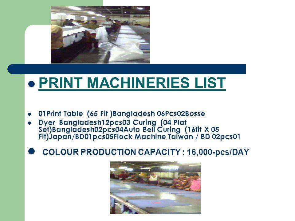 PRINT MACHINERIES LIST 01Print Table (65 Fit )Bangladesh 06Pcs02Bosse Dyer Bangladesh12pcs03 Curing (04 Plat Set)Bangladesh02pcs04Auto Bell Curing (16