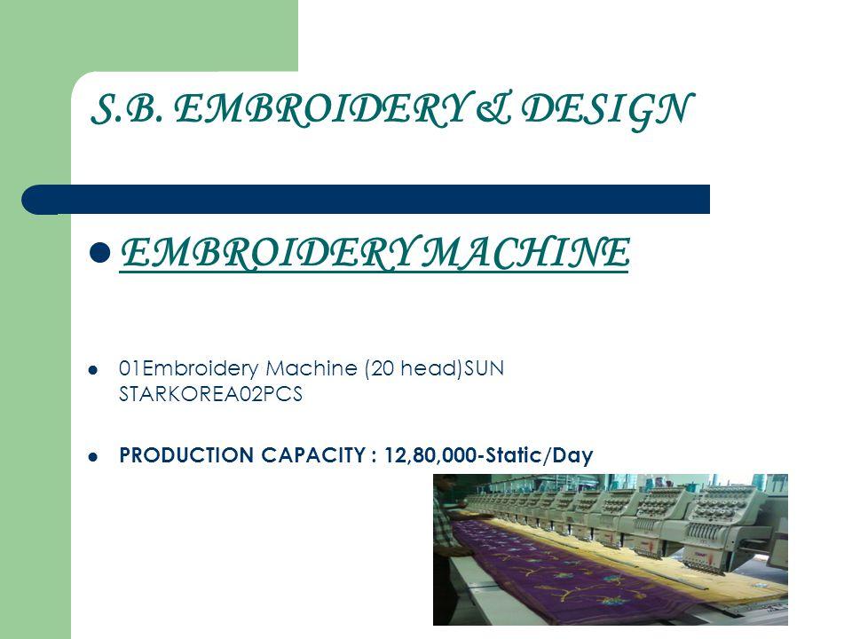 S.B. EMBROIDERY & DESIGN EMBROIDERY MACHINE 01Embroidery Machine (20 head)SUN STARKOREA02PCS PRODUCTION CAPACITY : 12,80,000-Static/Day