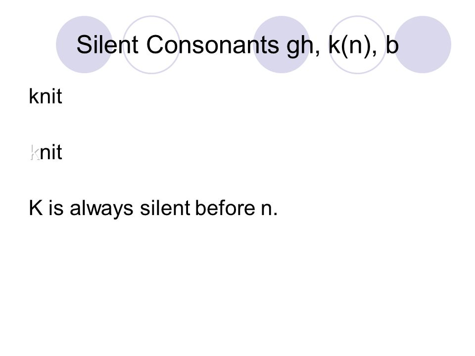 Silent Consonants gh, k(n), b crumbs What letter or letters are silent? crumbs