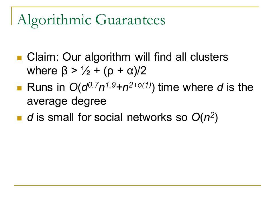 Algorithmic Guarantees Claim: Our algorithm will find all clusters where β > ½ + (ρ + α)/2 Runs in O(d 0.7 n 1.9 +n 2+o(1) ) time where d is the avera