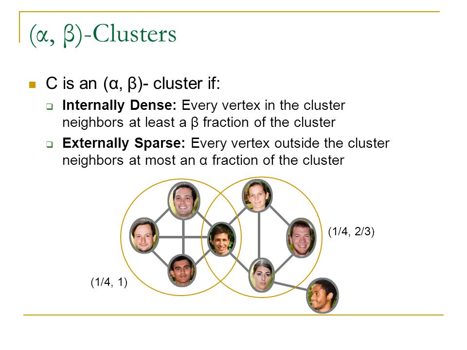 (α, β)-Clusters C is an (α, β)- cluster if:  Internally Dense: Every vertex in the cluster neighbors at least a β fraction of the cluster  Externally Sparse: Every vertex outside the cluster neighbors at most an α fraction of the cluster (1/4, 1) (1/4, 2/3)