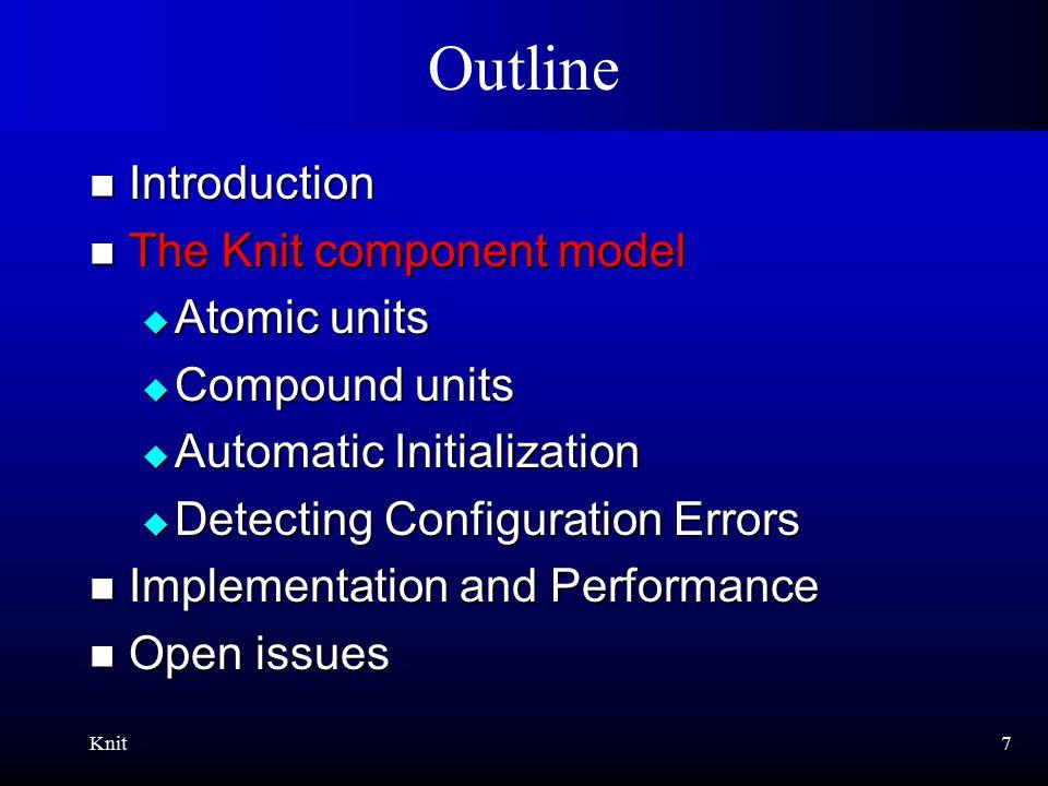 Knit8 Atomic Units [PLDI'98] serve_cgi serve_web int serve_web(…) { if (…) serve_cgi(…); else serve_file(…); } serve_file -Ioskit -DKERNEL -DHAVE_CONFIG