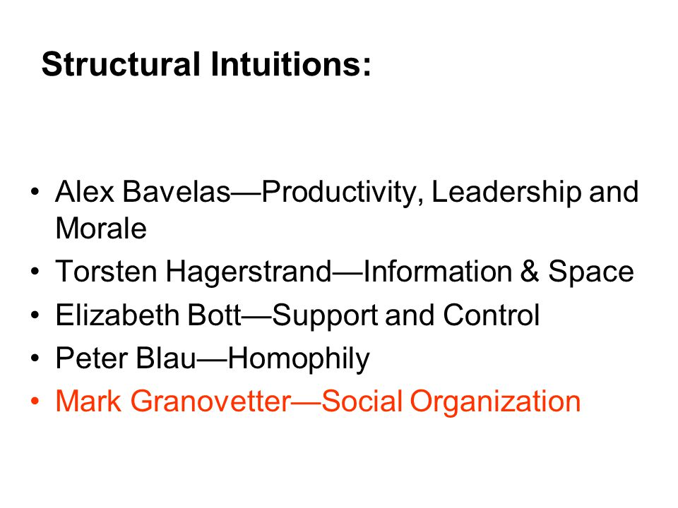 Structural Intuitions: Alex Bavelas—Productivity, Leadership and Morale Torsten Hagerstrand—Information & Space Elizabeth Bott—Support and Control Peter Blau—Homophily Mark Granovetter—Social Organization