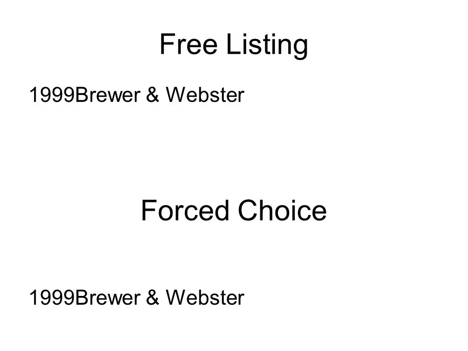 Free Listing 1999Brewer & Webster Forced Choice 1999Brewer & Webster