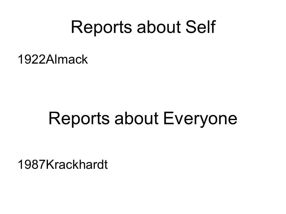 Reports about Self 1922Almack Reports about Everyone 1987Krackhardt