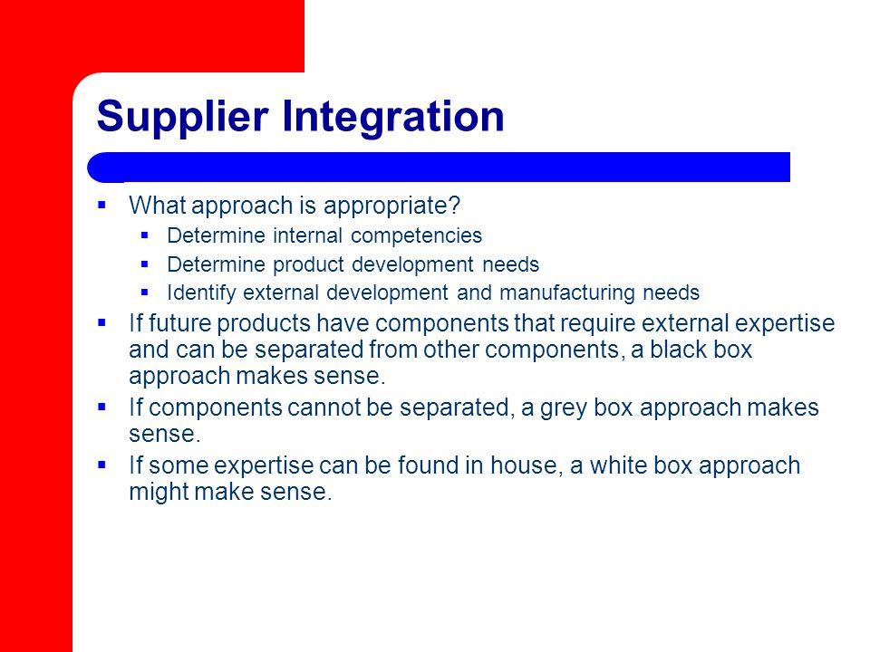 Supplier Integration  What approach is appropriate?  Determine internal competencies  Determine product development needs  Identify external devel